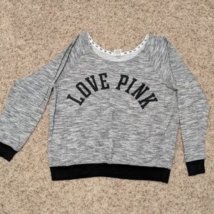 PINK Grey and Black Love Sweatshirt Large